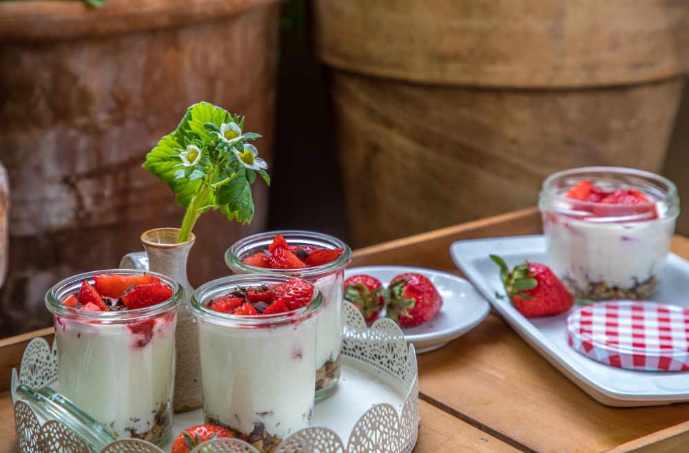 migräne Ernährung Rezepte Erdbeer Cheesecake im Glas ohne Zucker Ernährungsberatung ernährungscoaching München Ottobrunn avocadooo